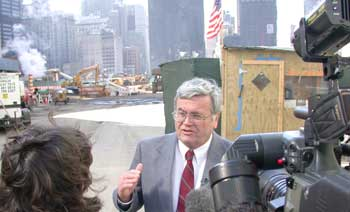 Photo: Thomas Cahill talking to TV reporters at World Trade Center